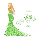 Beautiful pregnant women in flowery dress. Mothers Day greeting card with lettering. Spring holidays. Vector illustration EPS10 Stock Images