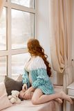 Beautiful pregnant women at home Royalty Free Stock Image