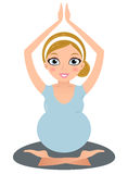Beautiful Pregnant Yoga Woman isolated on white Royalty Free Stock Photography