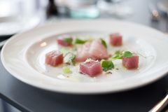 Beautiful presentation of raw Salmon dish. On a white plate in a restaurant Stock Image