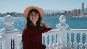Excited brunette adventures in summer holidays