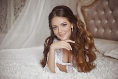 Free Beautiful Pretty Smiling Bride Wedding Portrait. Brunette With C Royalty Free Stock Images - 132455869
