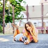 Beautiful pretty smiling girl posing outdoor Stock Image