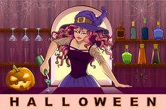 Beautiful pretty witch girl pours cocktails Halloween party Stock Photography