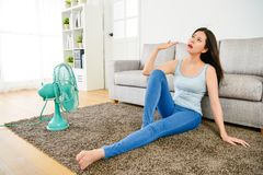 Beautiful Pretty Woman Feeling Hot During Summer Royalty Free Stock Image