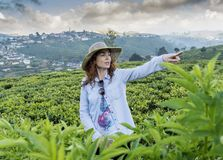 Beautiful pretty woman in the hat standing at the tea plantations and pointing to aside with finger. In Sri Lanka royalty free stock photography