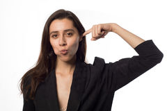 Beautiful pretty woman putting her finger in her ear royalty free stock photography