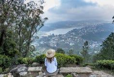 Free Beautiful Pretty Woman Sitting At The Top Of The Single Tree Hill In Nuwara Eliya Royalty Free Stock Image - 142185816
