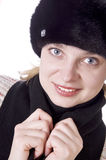 Beautiful pretty woman wearing in fur hat Royalty Free Stock Photography