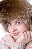 Beautiful pretty womanin fur hat Royalty Free Stock Photo