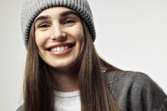 Beautiful pretty young woman smiling, close-up. Happy face emotions Royalty Free Stock Images