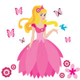 Beautiful princess. With bird and butterfly Royalty Free Stock Image