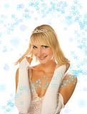 Beautiful princess. On abstract christmas background Royalty Free Stock Photos