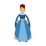 Beautiful princess in a blue dress, fairytale or medieval character colorful  Illustration. On a white background Royalty Free Stock Photos
