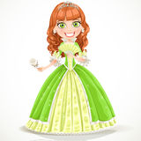 Beautiful princess in a green dress with a white r Stock Photography