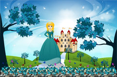 Beautiful Princess and Castle Stock Photo