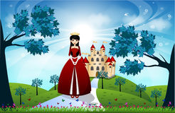 Beautiful Princess and Castle Royalty Free Stock Photos