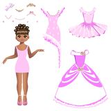 Beautiful princess with a collection of dresses and accessories. Vector illustration. Set Royalty Free Stock Image