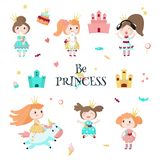 Beautiful princess icon set, vector isolated illustration. Beautiful princess in crown icon set. Vector illustration isolated on white background. Fairytail girl vector illustration