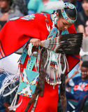 Native American Princess. Beautiful Princess dancer, gorgeous young girl in Native American costume performing at Powwow Stock Photo