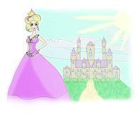 Beautiful princess in front of  castle Stock Photo