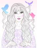 Beautiful princess , her hair combed birds Royalty Free Stock Photos