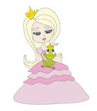 Beautiful princess holding a big frog Royalty Free Stock Photo