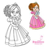 Beautiful princess holding kitten on hands color and outlined Royalty Free Stock Photography