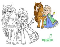 Beautiful princess with horse color and outlined Royalty Free Stock Photography
