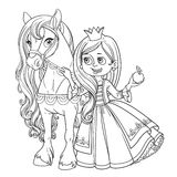 Beautiful princess with horse outlined picture for coloring book Stock Images