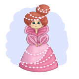 Beautiful princess. Illustration of beautiful princess in pink dress with perls Stock Images