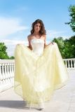 Beautiful Princess In White-golden Gown Stock Photos