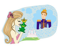 Beautiful princess kissing a big frog Stock Photography