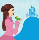 Beautiful  princess kissing a big frog Stock Images