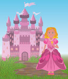 Beautiful princess and magic fairy tale castle Royalty Free Stock Photo