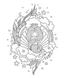 Beautiful princess mermaid on the background of a large sea shell, surrounded by clouds and seaweed. Cute little cartoon character Royalty Free Illustration