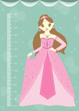 Beautiful princess with meter wall or height meter from 50 to 180 centimeter,Vector illustrations. Beautiful princess with meter wall or height meter from 50 to vector illustration