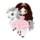 Beautiful princess with pink dress riding horse. Beautiful princess with pink dress riding pony unicorn. Vector illustration on white background royalty free illustration