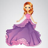 Beautiful Princess In Purple Dress. Vector illustration of fashion princess girl in purple grand dress vector illustration