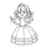 Beautiful princess read book outlined picture for coloring book Royalty Free Stock Photo