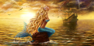 Beautiful princess Sea Mermaid with Ghost Ship at Sunset background Royalty Free Stock Photography