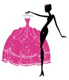 Beautiful princess trying to choose dress. Vector vector illustration