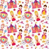 Beautiful princess vector seamless pattern, magic background for girls fabric Stock Photos
