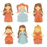Beautiful princesses set Royalty Free Stock Image