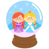 Beautiful princesses in a snow globe Stock Photography
