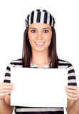 Beautiful prisoner with blank paper Stock Photos
