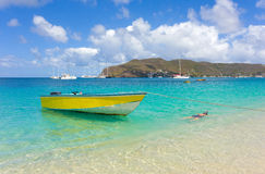 A beautiful pristine bay in the windward islands Stock Photo