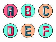 Original and beautiful processing of the first six letters of the alphabet. Beautiful processing of the first six letters of the alphabet Royalty Free Stock Photo