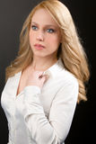 Beautiful Professional Blonde Woman in White Shirt Stock Photos