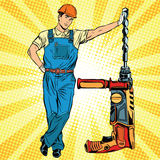 Beautiful professional Builder with electric drill Stock Image